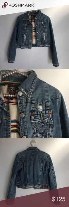 True Religion denim jacket True Religion denim jacket. It's a crop fit and runs small. Has a fun Boho lining so it's perfect for all season. True Religion Jackets & Coats Jean Jackets