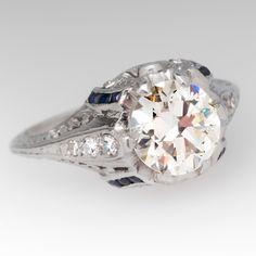 Antique 1.47 Carat Transitional Cut Diamond Engagement Ring