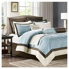 Juliana 9 Piece Comforter Set in Blue