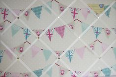 Union Jack Bunting Pink, Duck Egg Fabric Notice/Pin/Memo Board 2 Size Choices | eBay