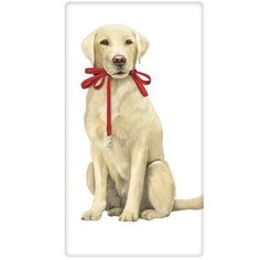 Yellow Lab with Leash Packaged Towel