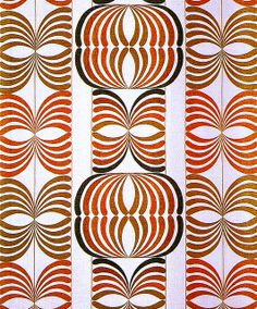Screen-printed polyester and linen furnishing fabric, designed by Astrid Sampe, produced by Almedahls, 1970.