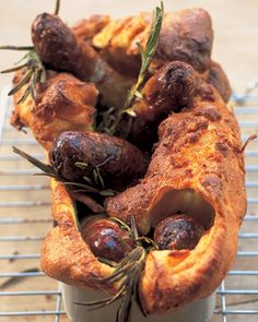 Toad in the hole, from Jamie Oliver's early cookbook 'Happy Days with the Naked Chef'. Sausages cooked in a Yorkshire pudding batter, with herbs. Yorkshire Pudding Batter, Pork Recipes, Cooking Recipes, Toad In The Hole, Onion Gravy, English Food, Jamie Oliver, Best Breakfast, Carne