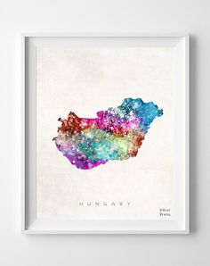 Hungary Map Watercolor Budapest Home Town Poster by InkistPrints, $11.95 - Shipping Worldwide! [Click Photo for Details]