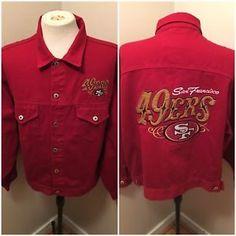 a7f10b743 Vintage San Fransisco 49ers Red Denim Jean Jacket Men s Sz L ProElite  Football
