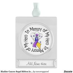 Bladder Cancer Angel Ribbon In Memory of My Hero Silver Plated Banner Ornament
