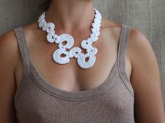 White necklace Crochet jewelry Fiber necklace Cotton necklace Abstract jewelry