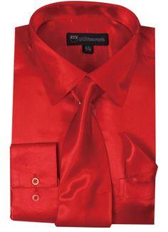[ Milano Moda Satin Classic Dress Shirts with Tie & Hankie , 14 Colors ] # Shoes & Jewelry Shirts Dress Shirt And Tie, Dress Shirts, Suit Shirts, Satin Formal Dress, Red Silk Dress, Church Suits, Stylish Dresses, Mens Fashion, Fashion Shirts