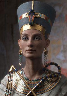 Recreación física de la Reina Nefertiti basada en la escultura en un hayazgo arqueológico.  La recreación nos muestra el estilo de vestimenta de una reina real en los tiempos del antiguo Egipto.  Se aprecia en detalles la cantidad de accesorios y detalles que tanto las caracterizaba.
