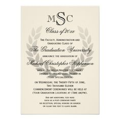 "Laurel Crest Monogram Classic College Graduation 4.5"" X 6.25"" Invitation Card"
