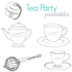 Handdrawn teacups, pots and more to use for paint patterns, crafting, embroidery, and coloring pages.