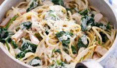 Recept voor spaghetti carbonara met kip en spinazie