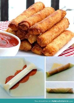 Pizza sticks: Egg Roll Wraps, Cheese stick, Pepperoni, Fried. Tomato dipping sauce. (NOTE: There is no recipe on the link)