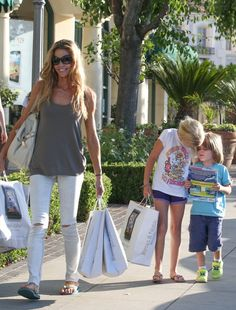 Denise Richards has her hands full in Calabasas