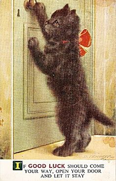 If good luck should come your way, open your door and let it stay... Vintage 1954 Postcard