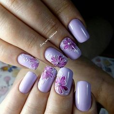 Make an original manicure for Valentine's Day - My Nails Manicure Nail Designs, Cool Nail Designs, Nail Manicure, My Nails, Purple Nail Art, Floral Nail Art, Cruise Nails, Nagellack Trends, Nagel Gel