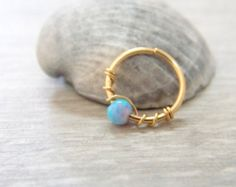 Tiny hoop 14k gold filled with natural by sofisjewelryshop on Etsy