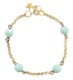 ★ Aqua facet ★ gold plated, handmade, unique, bracelet, accessories, jewelry, star