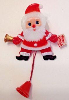 Vtg Jumping Santa Claus Xmas Pin Brooch Plastic Arms Legs Eyes Move Pull String