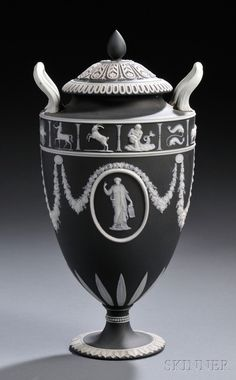 Wedgwood Black Jasper Dip Zodiac Vase and Cover
