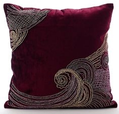 Decorative Throw Pillow Covers 16x16 Inches Purple Velvet Zardozi And Bead Embroidered Accent Pillows Toss Pillows Zardozi Waves