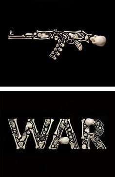 """""""Stop the Violence"""" Photo Series by Francois Robert Swiss photographer Francois Robert used human bones to create impressive images with the purpose of increasing global awareness of war violence. Grid Design, Design Art, Graphic Design, Impressive Image, Protest Posters, Photo Series, Skull And Bones, Artsy Fartsy, In This World"""