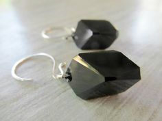 Swarovski black crystal earrings cubist crystal by SeptemberWillow