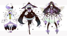 gijinka human version pokemon, litwick, lampent, chandelure
