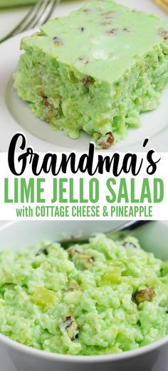 Grandma's Lime Green Jello Recipe with Cottage Cheese & Pineapple is a retro cottage cheese jello salad Grandma made for holiday meals. Make for Thanksgiving, Christmas, or potlucks - only 6 ingredients needed. Green Jello Salad, Lime Jello Salads, Fruit Salad Recipes, Lime Jello Recipes, Jello Salads For Parties, Jello Dessert Recipes, Salad Recipes For Dinner, Dessert Salads, Köstliche Desserts