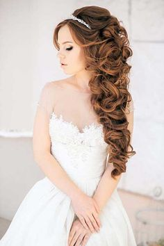 side wedding hairstyles long hair - Google Search
