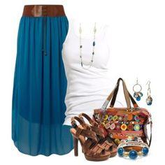 С чем носить коричневые босоножки: синяя юбка в пол, белый топ, сумка с цветным принтом, украшения