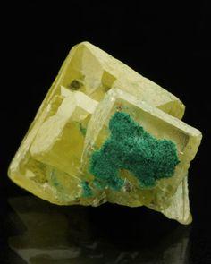 Wulfenite with Dolomite - Tsumeb Mine, Tsumeb, Otjikoto Region, Namibia    mw