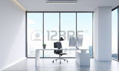 Managers office with large panoramic window, table with desktop and chair. Concept of managers life. 3d rendering photo