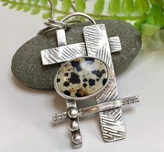 Dalmatian Jasper Necklace Sterling Silver Necklace Handmade