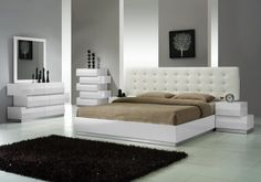 Modern style platform bedroom set comes in White high glossy finish. This bedroom furniture includes queen size platform bed only.