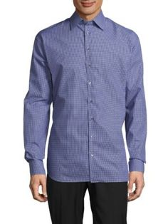 GIORGIO ARMANI Classic-Fit Gingham Cotton Shirt. #giorgioarmani #cloth #shirt