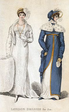 Muff and tippet. London Dresses for January 1810.