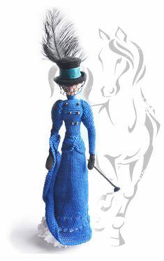 Cloth Art doll, Crocheted Rag doll, Decorative doll Lady rider Gift idea for girl and mom, OOAK amigurumi doll