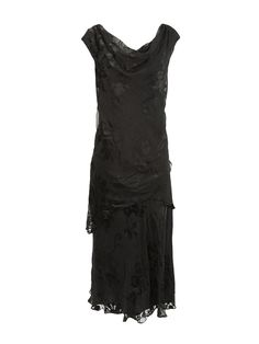 Silk burnout dress with cowl neckline and cap sleeves, bias-cut tea-length skirt with chevron overlay.