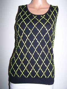 Rondina NWT Size S Lime Green  Black  Knit Tank Top Carlisle Etcetera Per Se  #Rondina #TankCami #Casual