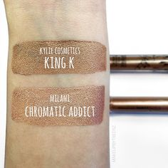 makeupbytreenz | Comparison between 'King K' from @kyliecosmetics metal mattes & 'chromatic addict' from @milanicosmetics amore mattallics! I know they aren't completely the same color but definitely same color family. these milani metallic liquid lips are amazing! they are so pigmented and really comfortable! the formulas are very similar, I might even like the milani ones better. plus $7.99 is definitely better than $18 plus shipping. I am totally gonna pick some more colors up soon!