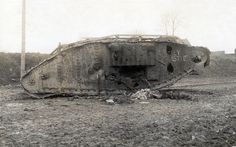 """British Mark IV 'Female' (Blarney Castle), Fontaine Notre Dame, November 1917 One of the most photographed tanks of the war """"Blarney Castle"""", a Mk IV 'female' sits where it was knocked-out by truck-borne German artillery in Fontaine Notre Dame, about 4 kilometres West of Cambrai. The British tanks suffered 70% casualties during the ill-fated attack on Fontaine-Notre-Dame on 23 November largely thanks to the accuracy of the German gunners using their anti-aircraft guns Ww1 Tanks, Ww1 History, British Army, British Tanks, 23 November, War Machine, World War I, Wwi, Warfare"""