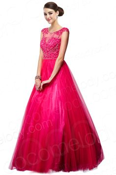Classic A-Line Illusion Natural Floor Length Tulle Red Sleeveless Zipper With Button Evening Dress with Crystals COXF14004