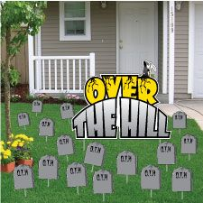 Over The Hill Birthday Yard Cards Signs 60th Party