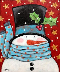 Winter is right around the corner and so are the holidays. Snowman is an original acrylic painting on an 8x10 canvas with painted sides to hang as is or