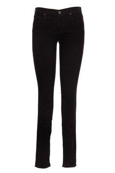AG - Adriano Goldschmied Black Corduroy Five Pocket Legging Jeans