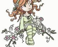 """Free embroidery design """"Girl on the branch""""free embroidery designs Best Embroidery Machine, Free Machine Embroidery Designs, Embroidery Ideas, Frosch Illustration, Embroidery Techniques, Free Design, Cross Stitch Patterns, Design Girl, Angry Birds"""