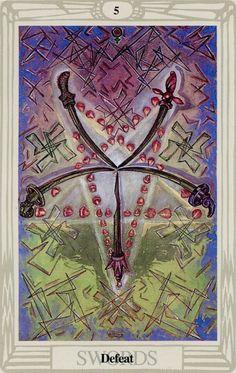 5 d'épées (Defeat) - Tarot Thoth par Aleister Crowley