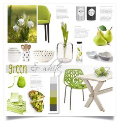 green and white by levai-magdolna on Polyvore featuring interior, interiors, interior design, home, home decor, interior decorating, Vitra, Kate Spade, MacKenzie-Childs and Oyoy