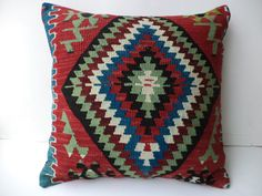 "Colorful Turkish Kilim Rug Pillow Cover,20""x20"" inch Old Handwoven Anatolian Kilim Rug Pillow Cover,Oversize Pillow,Cushion Cover."